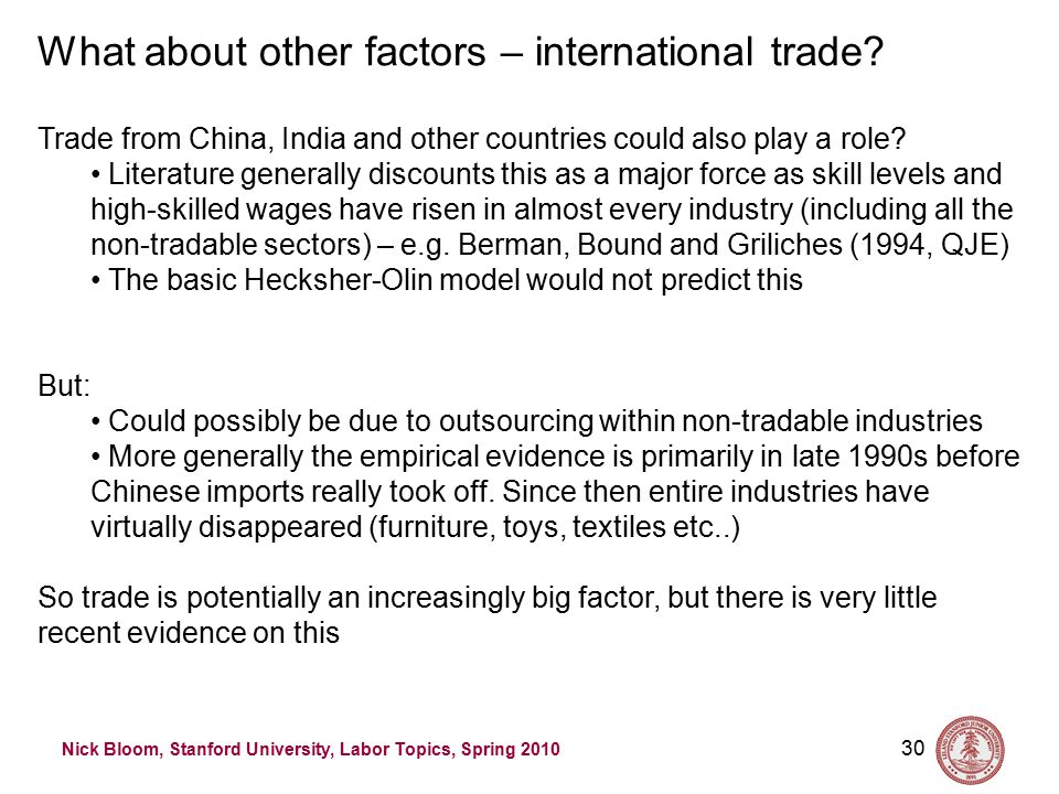 Nick Bloom, Stanford University, Labor Topics, Spring 2010 30 What about other factors – international trade.