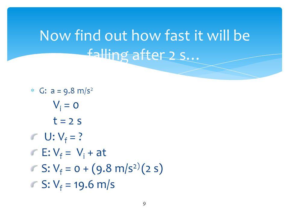  G: a = 9.8 m/s 2 V i = 0 t = 10 s U: V f = .