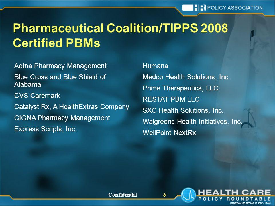 10228PH001MG.PPT/008-17-49183 5/2005 Confidential 6 Aetna Pharmacy Management Blue Cross and Blue Shield of Alabama CVS Caremark Catalyst Rx, A HealthExtras Company CIGNA Pharmacy Management Express Scripts, Inc.