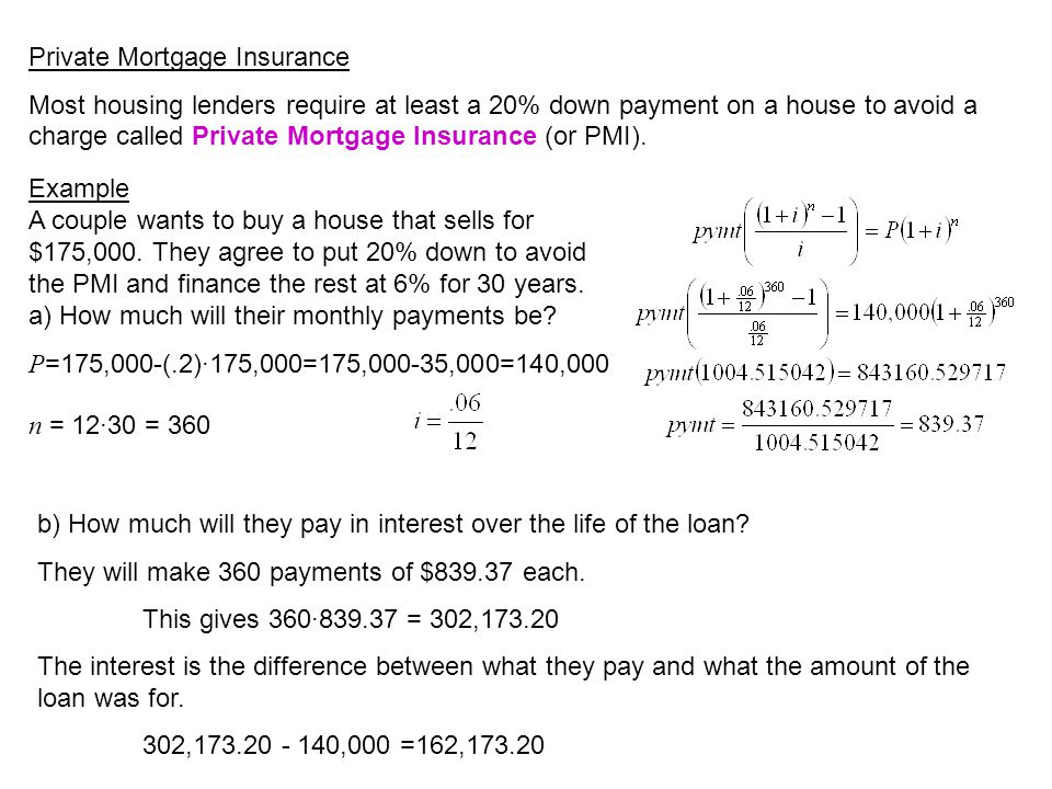 Private Mortgage Insurance Most housing lenders require at least a 20% down payment on a house to avoid a charge called Private Mortgage Insurance (or