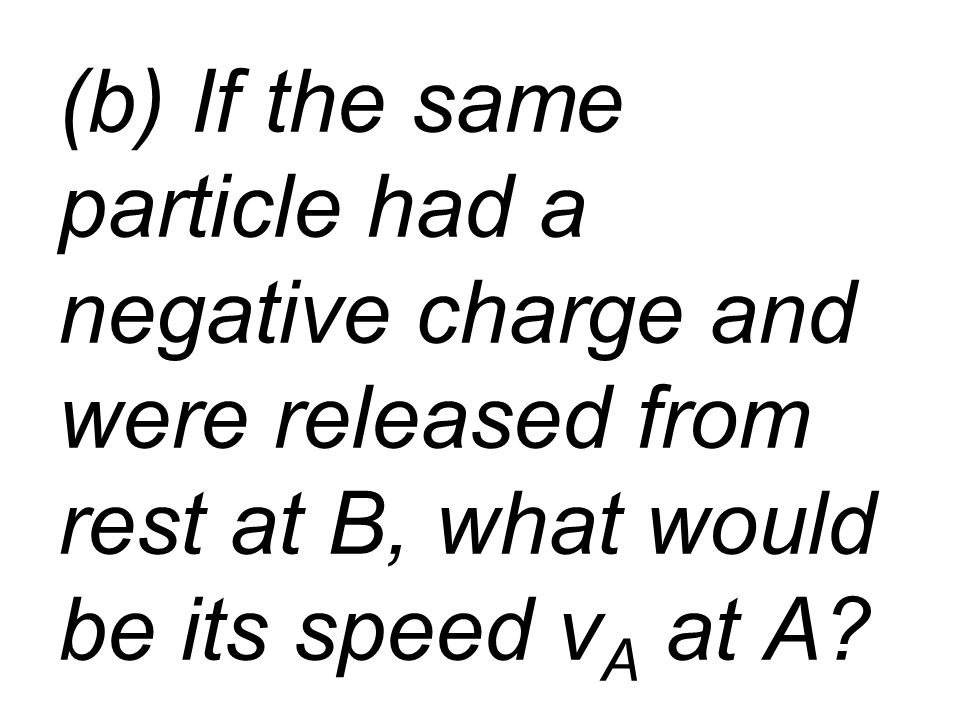 (b) If the same particle had a negative charge and were released from rest at B, what would be its speed v A at A