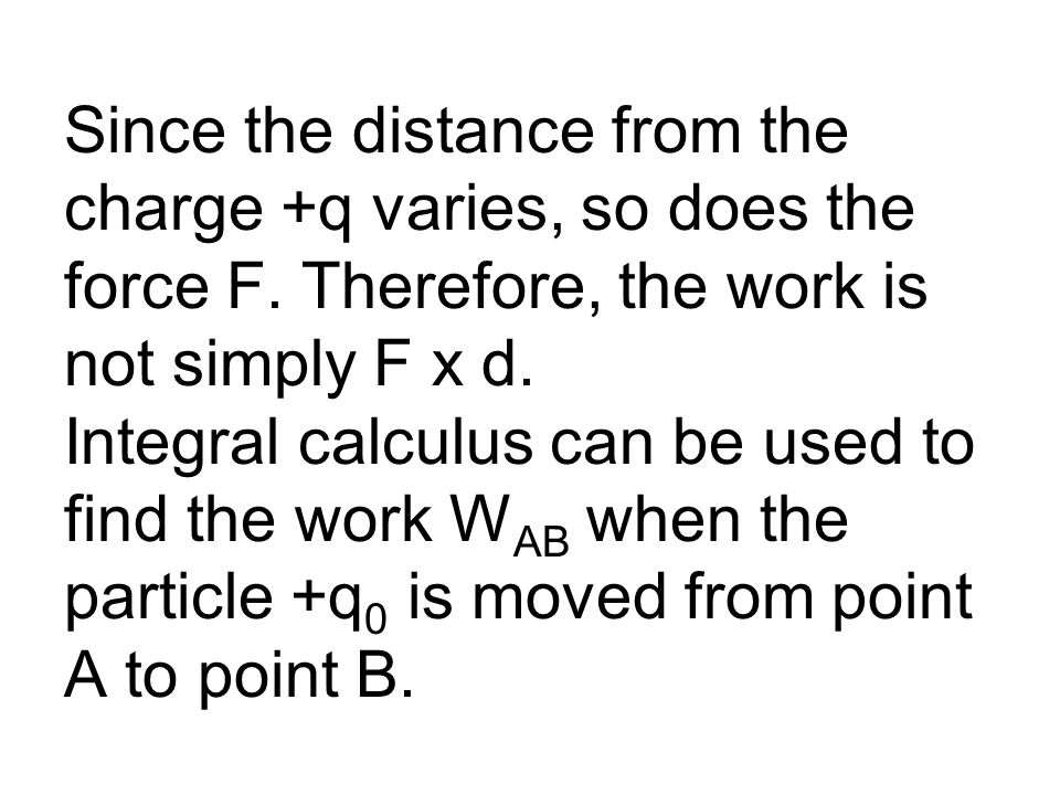 Since the distance from the charge +q varies, so does the force F.