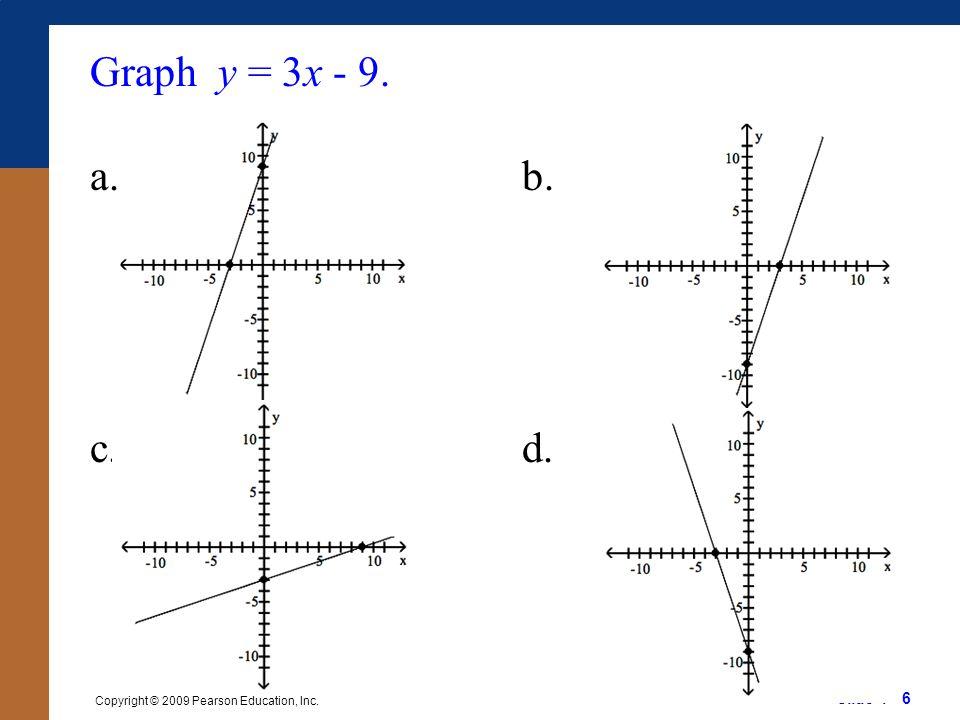 Slide 1 - 6 Copyright © 2009 Pearson Education, Inc. Graph y = 3x - 9. a.b. c.d.