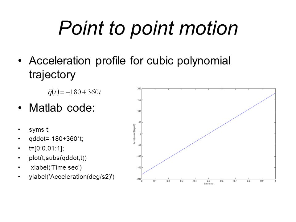 Point to point motion Acceleration profile for cubic polynomial trajectory Matlab code: syms t; qddot=-180+360*t; t=[0:0.01:1]; plot(t,subs(qddot,t))
