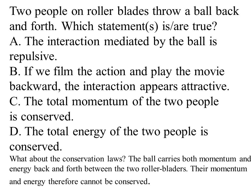 Two people on roller blades throw a ball back and forth.