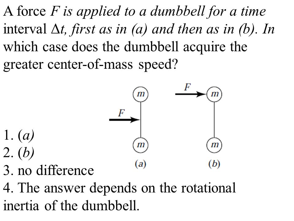 A force F is applied to a dumbbell for a time interval Δt, first as in (a) and then as in (b).