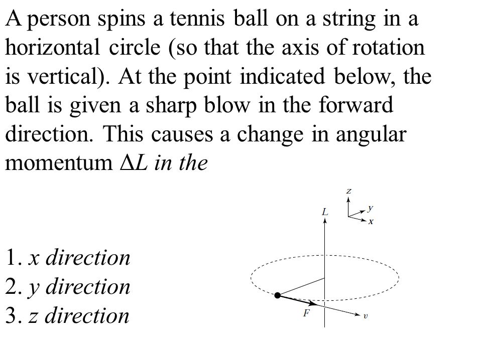 A person spins a tennis ball on a string in a horizontal circle (so that the axis of rotation is vertical).