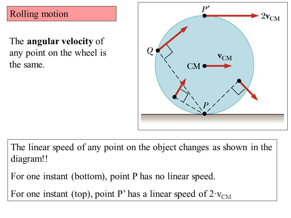 Rolling motion The angular velocity of any point on the wheel is the same.