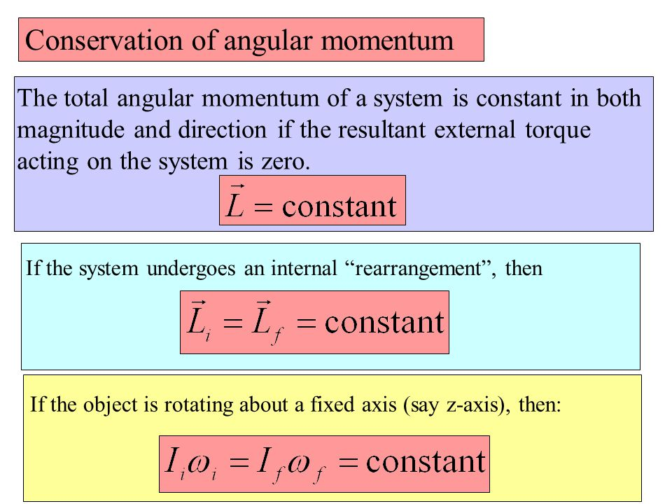 Conservation of angular momentum The total angular momentum of a system is constant in both magnitude and direction if the resultant external torque acting on the system is zero.