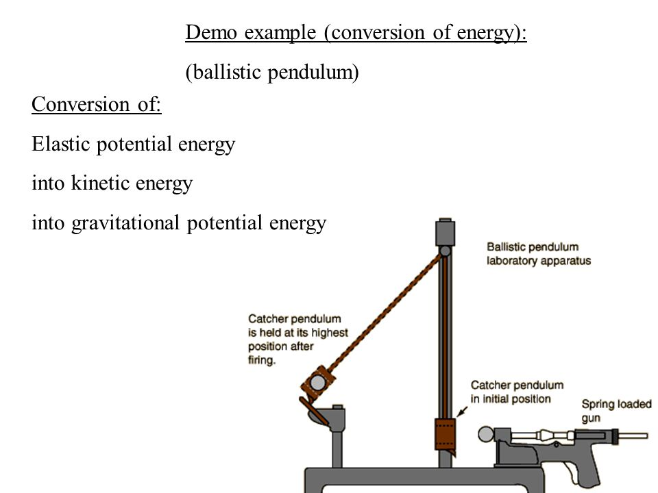 Conversion of: Elastic potential energy into kinetic energy into gravitational potential energy Demo example (conversion of energy): (ballistic pendulum)