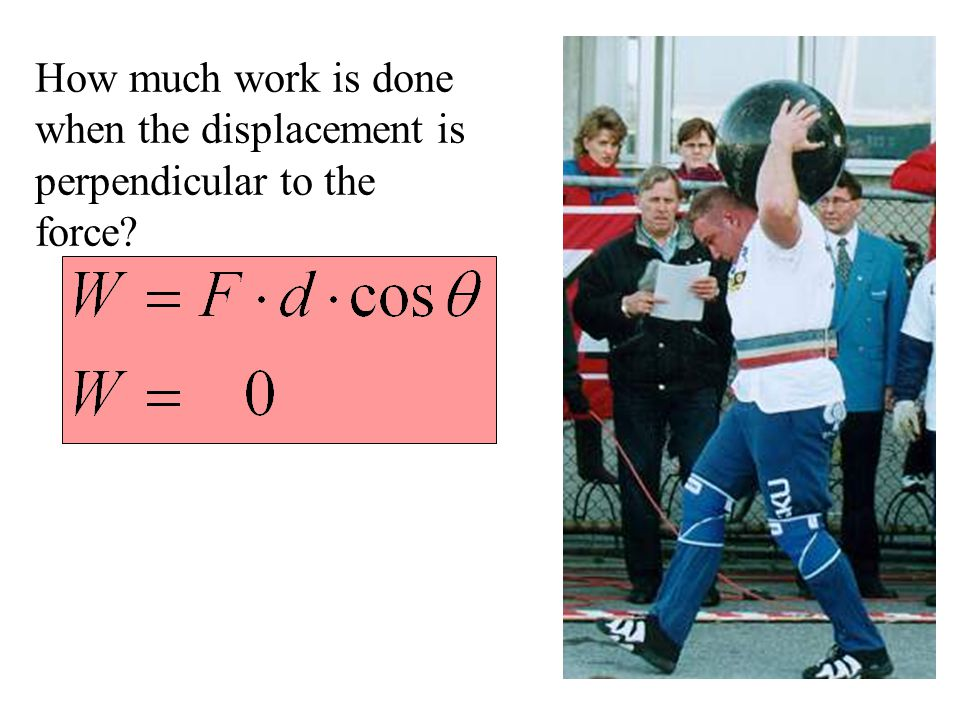 How much work is done when the displacement is perpendicular to the force?
