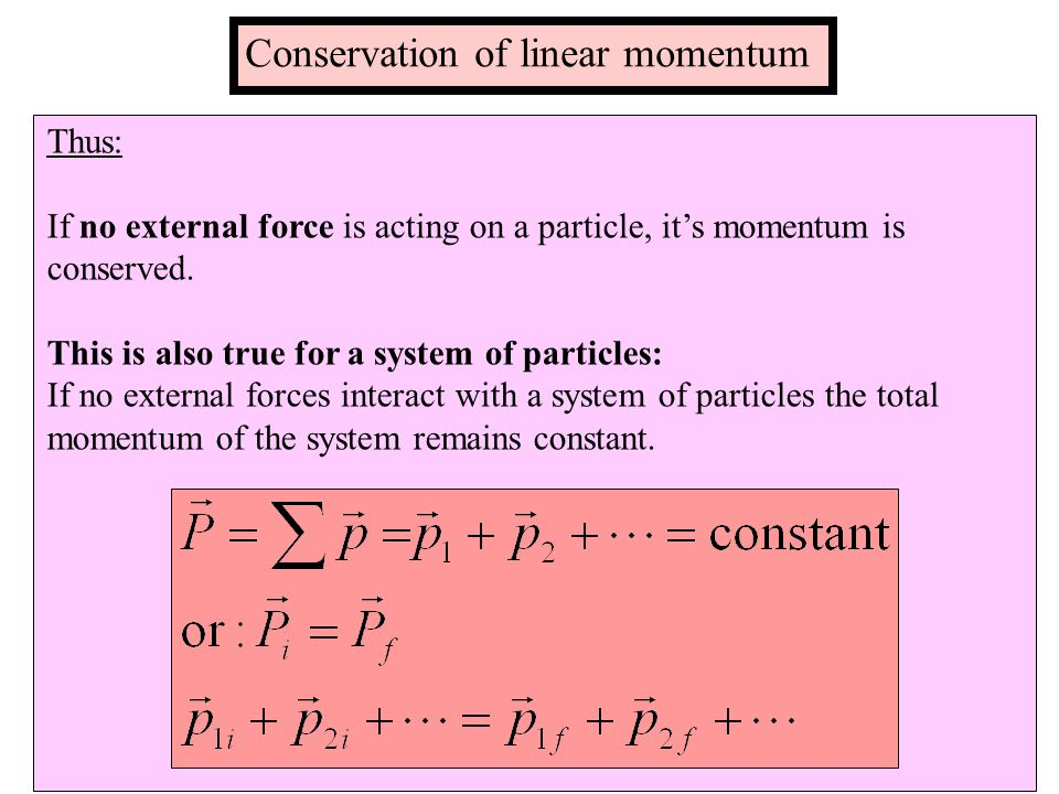 Thus: If no external force is acting on a particle, it's momentum is conserved.