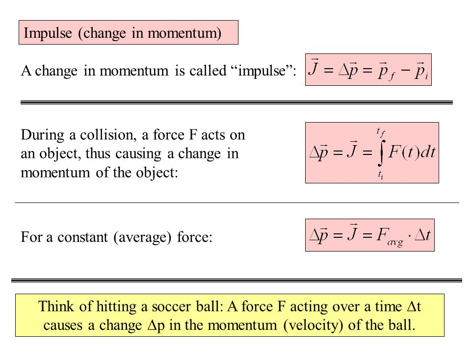 Impulse (change in momentum) A change in momentum is called impulse : During a collision, a force F acts on an object, thus causing a change in momentum of the object: For a constant (average) force: Think of hitting a soccer ball: A force F acting over a time  t causes a change  p in the momentum (velocity) of the ball.