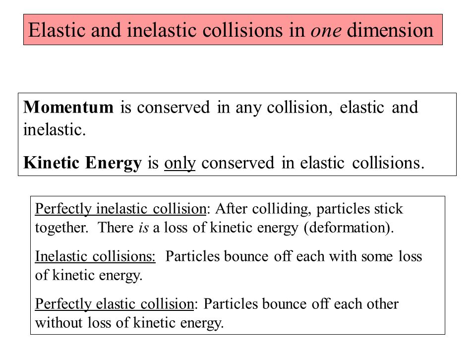 Elastic and inelastic collisions in one dimension Momentum is conserved in any collision, elastic and inelastic.