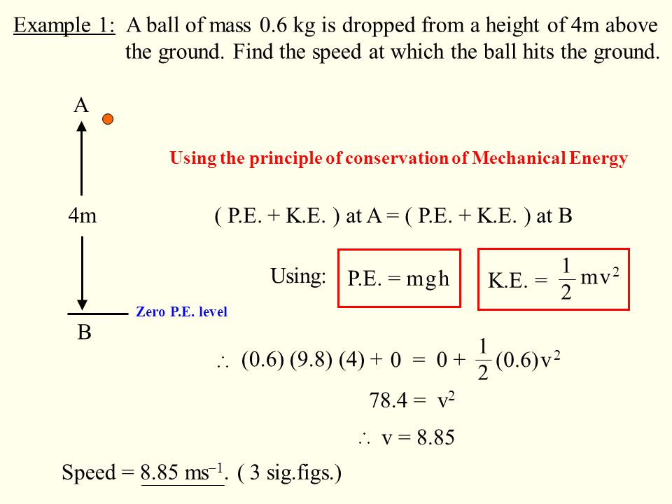 Example 1: A ball of mass 0.6 kg is dropped from a height of 4m above the ground.