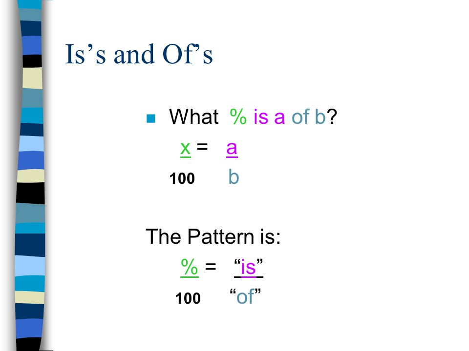 Examples of Is/Of % Questions n What number is 16% of 70.