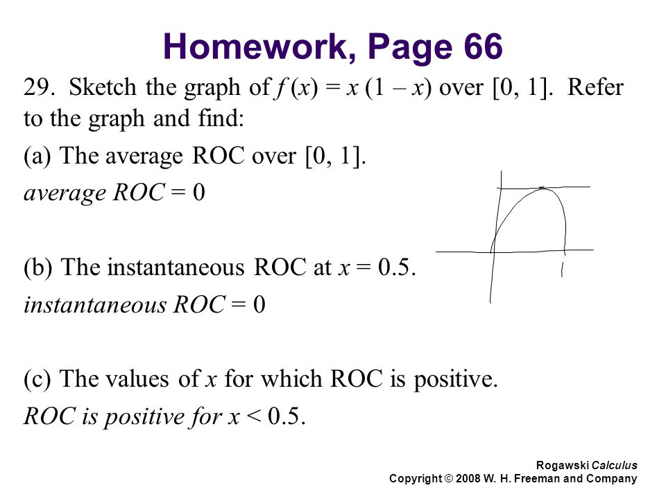 Homework, Page 66 29. Sketch the graph of f (x) = x (1 – x) over [0, 1]. Refer to the graph and find: (a) The average ROC over [0, 1]. average ROC = 0