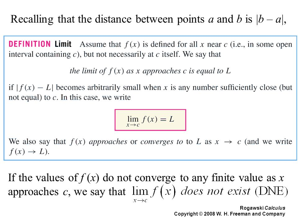 Rogawski Calculus Copyright © 2008 W. H. Freeman and Company Recalling that the distance between points a and b is |b – a|, If the values of f (x) do