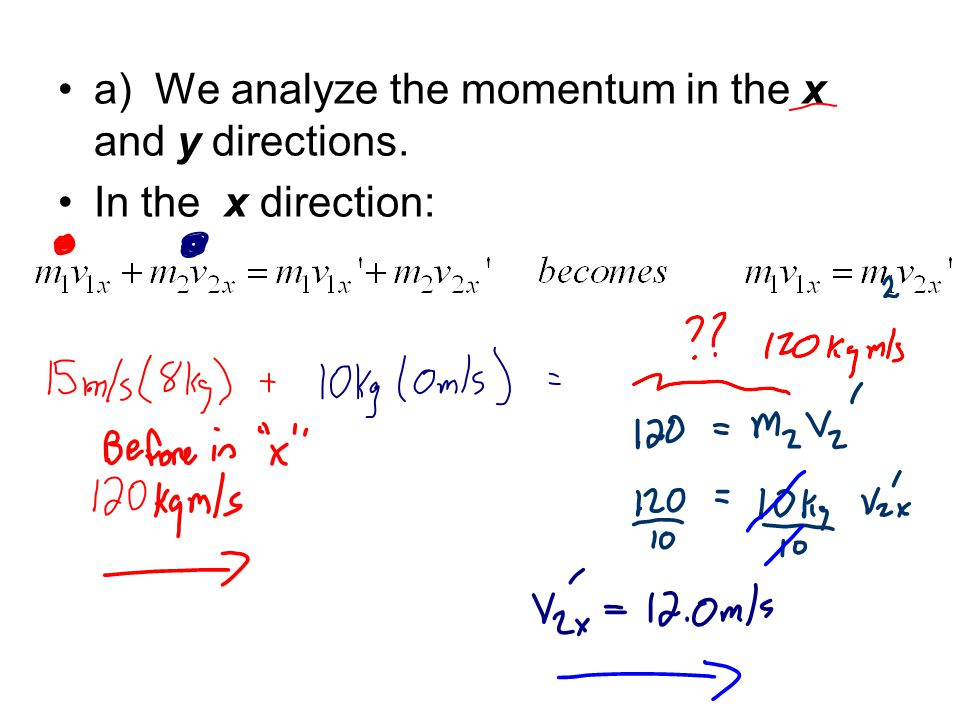 a) We analyze the momentum in the x and y directions. In the x direction: