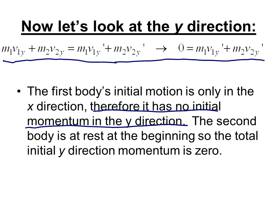 Now let's look at the y direction: The first body's initial motion is only in the x direction, therefore it has no initial momentum in the y direction.
