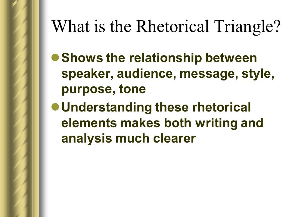 The Rhetorical Triangle Message SpeakerAudience ToneStyle Purpose
