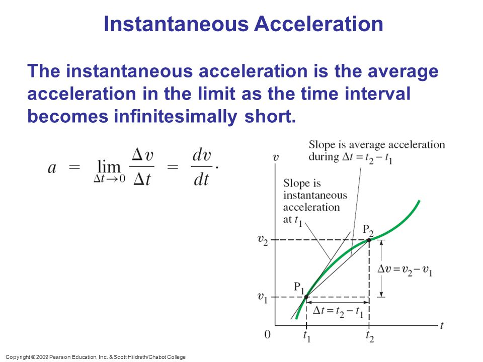 Copyright © 2009 Pearson Education, Inc. & Scott Hildreth/Chabot College Instantaneous Acceleration The instantaneous acceleration is the average acce