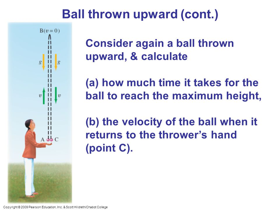 Copyright © 2009 Pearson Education, Inc. & Scott Hildreth/Chabot College Ball thrown upward (cont.) Consider again a ball thrown upward, & calculate (