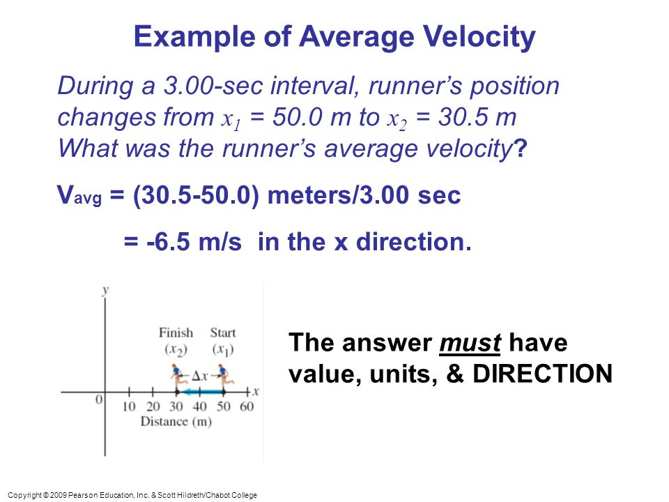 Copyright © 2009 Pearson Education, Inc. & Scott Hildreth/Chabot College Example of Average Velocity During a 3.00-sec interval, runner's position cha