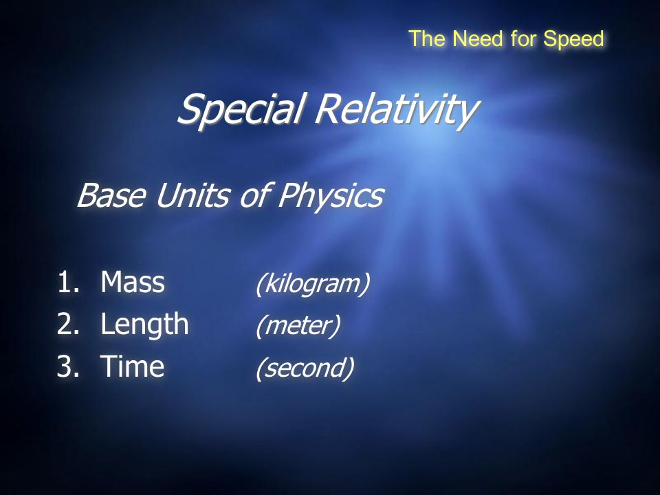 Special Relativity Base Units of Physics 1.Mass (kilogram) 2.Length (meter) 3.Time (second) Base Units of Physics 1.Mass (kilogram) 2.Length (meter) 3