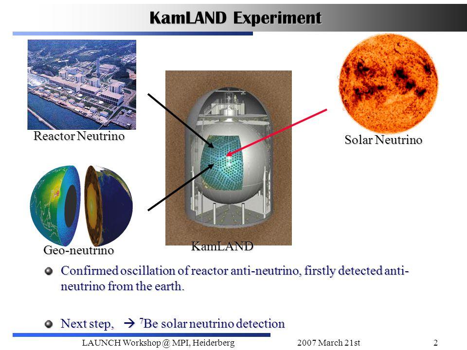2007 March 21stLAUNCH Workshop @ MPI, Heiderberg2 KamLAND Experiment Reactor Neutrino Geo-neutrino KamLAND Solar Neutrino Confirmed oscillation of reactor anti-neutrino, firstly detected anti- neutrino from the earth.