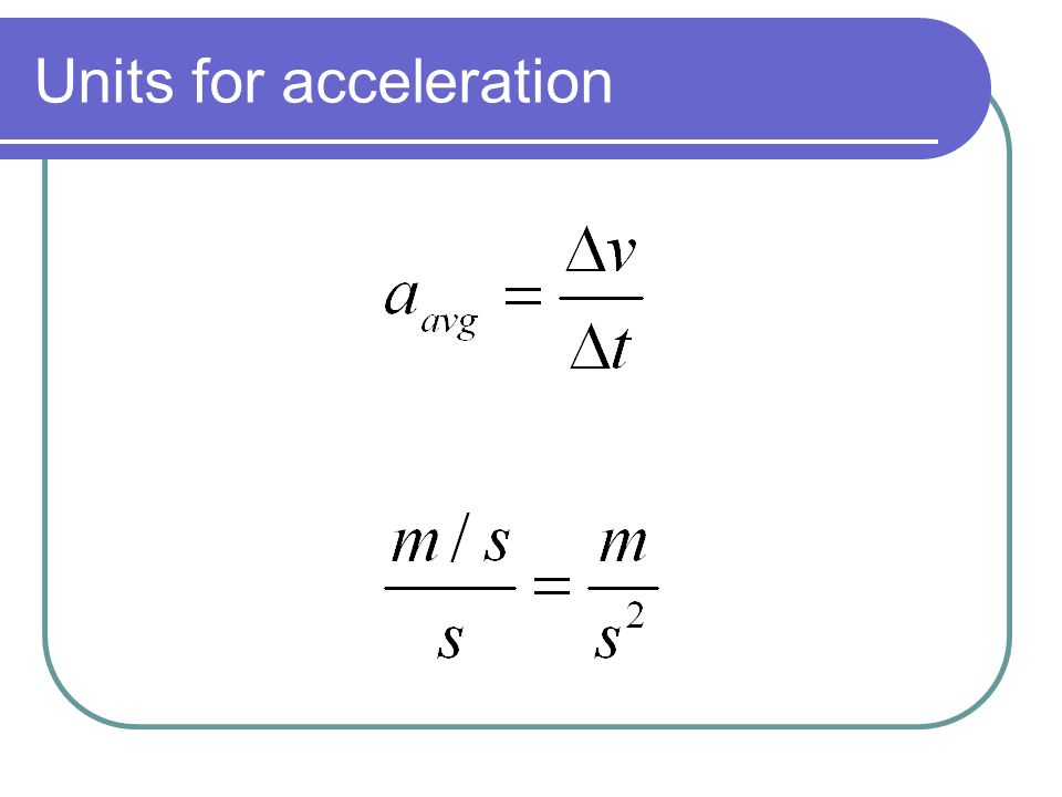 Units for acceleration
