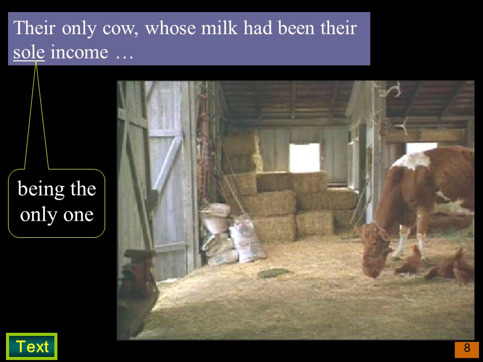 8 Their only cow, whose milk had been their sole income … being the only one Text