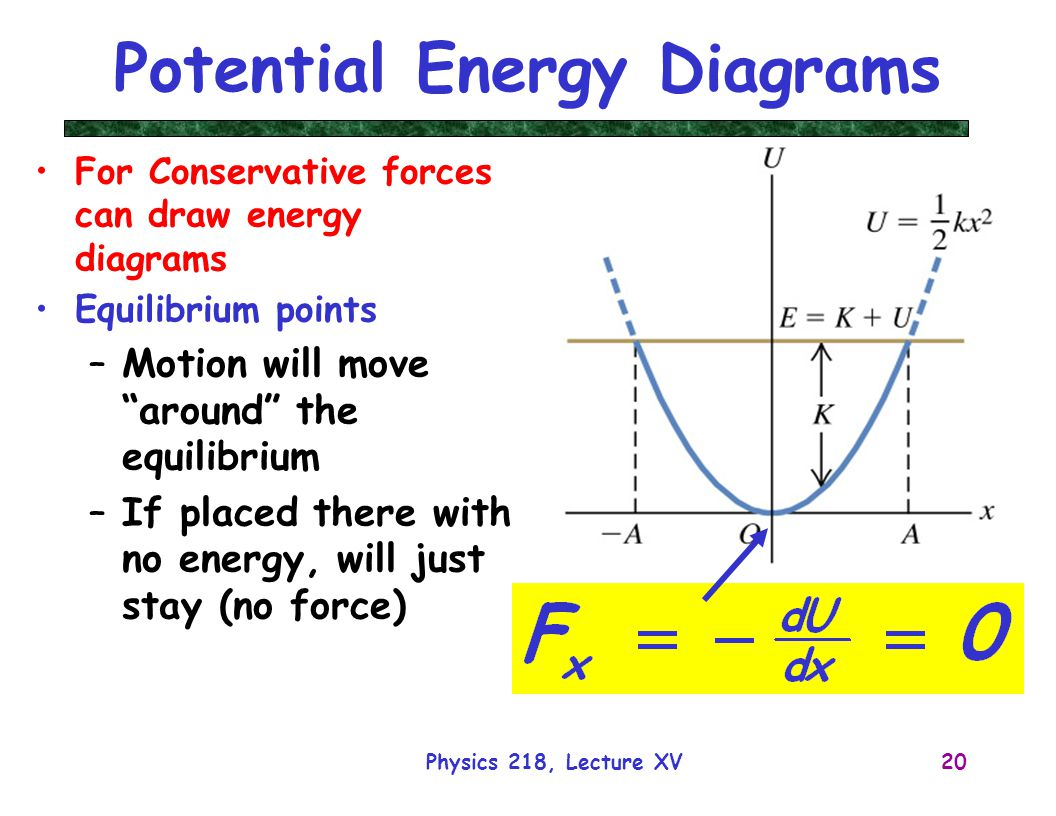 Physics 218, Lecture XV20 Potential Energy Diagrams For Conservative forces can draw energy diagrams Equilibrium points –Motion will move around the equilibrium –If placed there with no energy, will just stay (no force)
