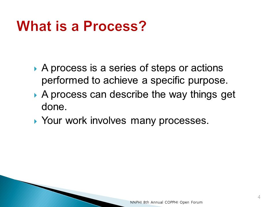  A process is a series of steps or actions performed to achieve a specific purpose.  A process can describe the way things get done.  Your work inv