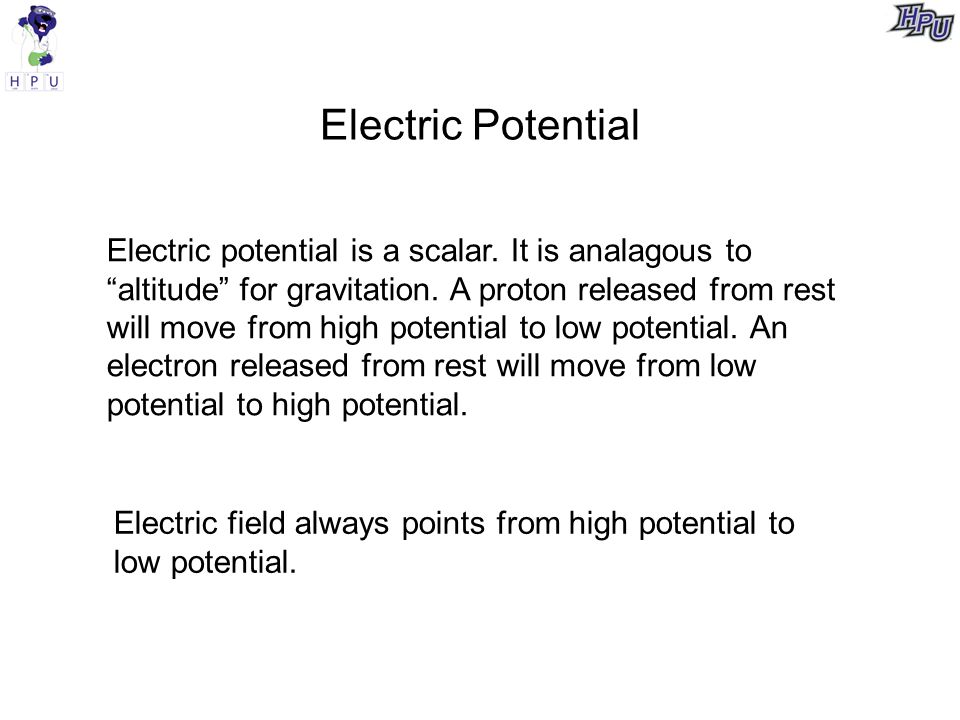 Electric Potential Electric potential is a scalar.