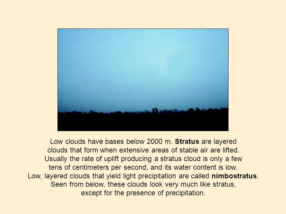 Low clouds have bases below 2000 m.