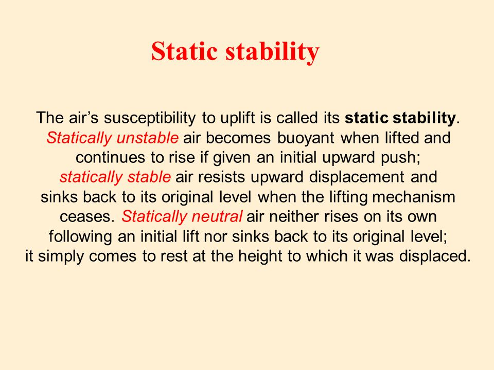 The air's susceptibility to uplift is called its static stability.