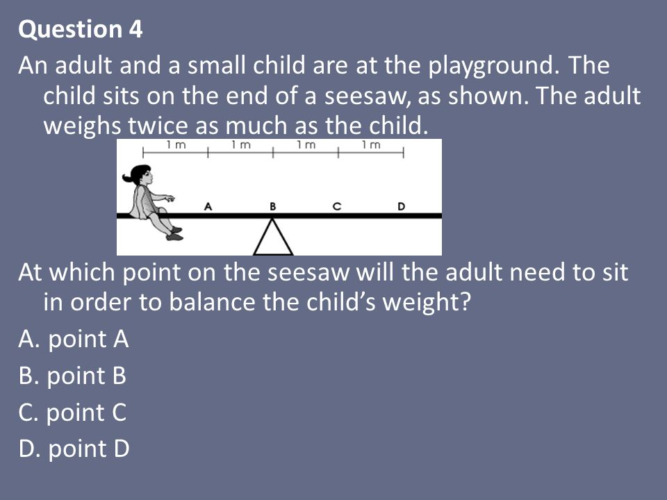 Question 4 An adult and a small child are at the playground.
