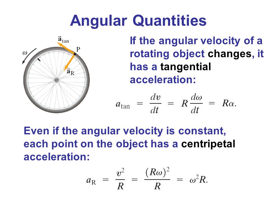 Angular Quantities If the angular velocity of a rotating object changes, it has a tangential acceleration: Even if the angular velocity is constant, e