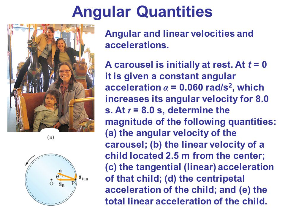 Angular Quantities Angular and linear velocities and accelerations. A carousel is initially at rest. At t = 0 it is given a constant angular accelerat
