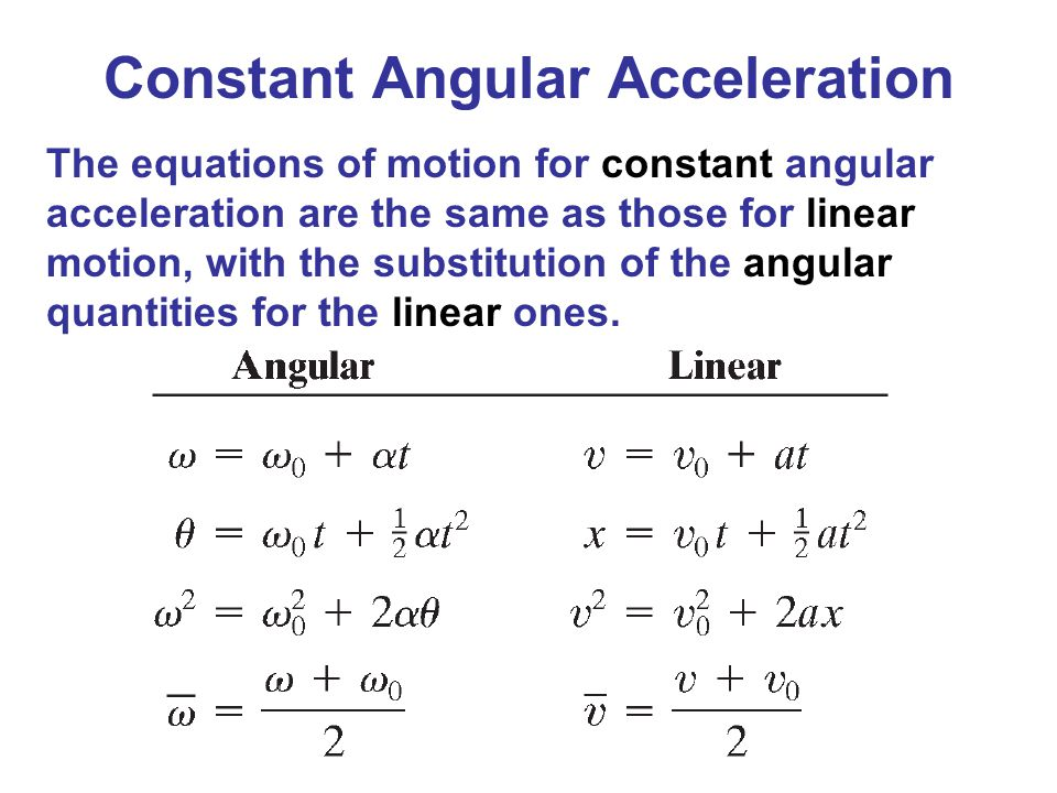 Constant Angular Acceleration The equations of motion for constant angular acceleration are the same as those for linear motion, with the substitution