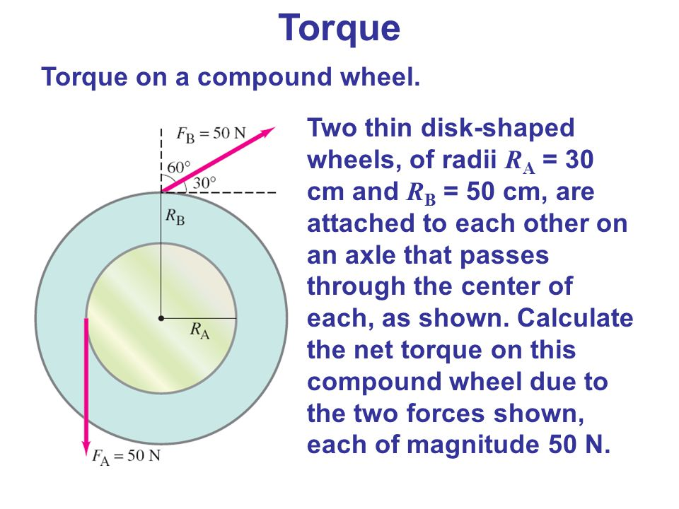 Torque Two thin disk-shaped wheels, of radii R A = 30 cm and R B = 50 cm, are attached to each other on an axle that passes through the center of each