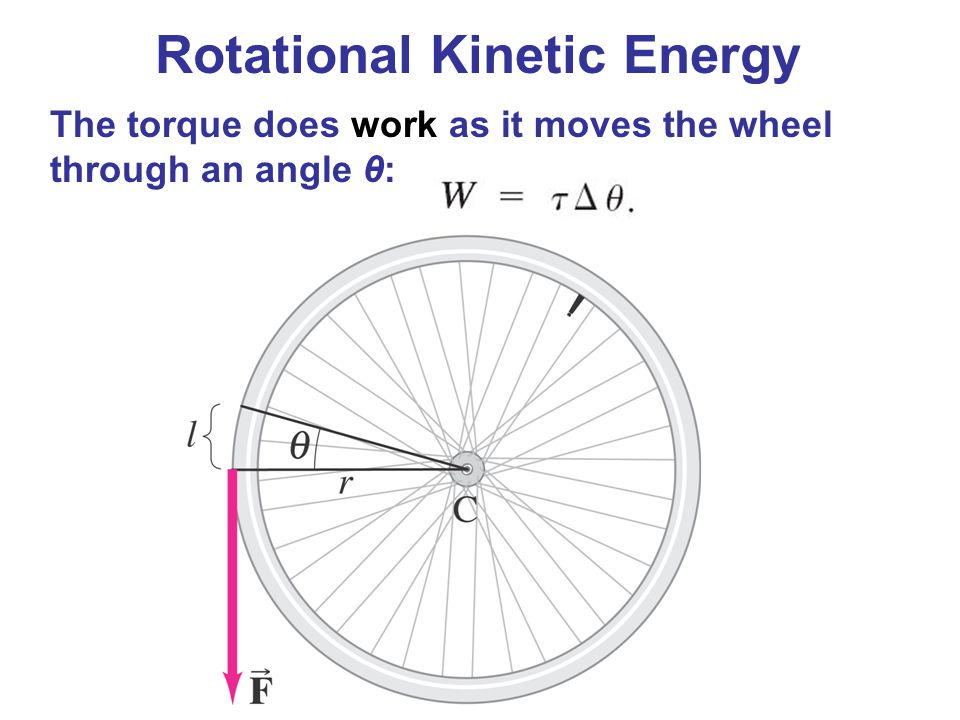 Rotational Kinetic Energy The torque does work as it moves the wheel through an angle θ: