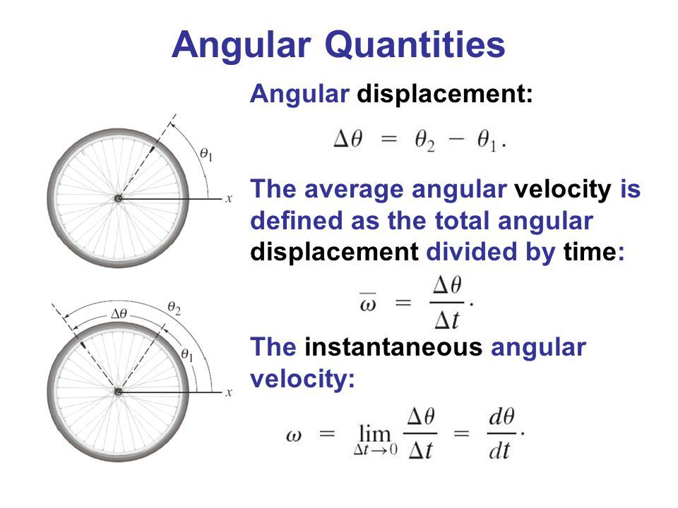 Angular displacement: The average angular velocity is defined as the total angular displacement divided by time: The instantaneous angular velocity: A