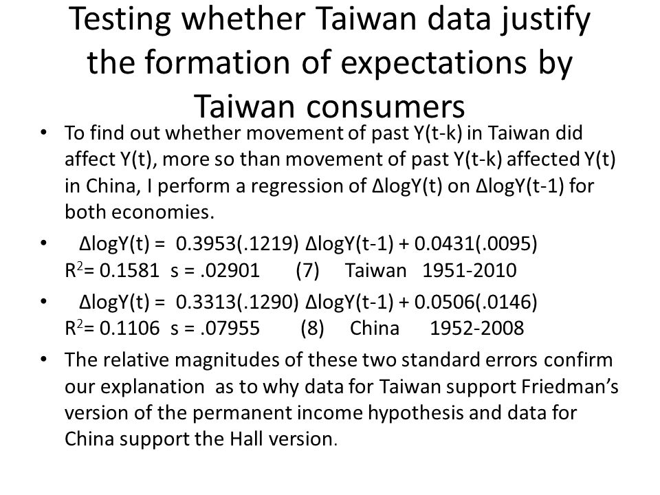 Testing whether Taiwan data justify the formation of expectations by Taiwan consumers To find out whether movement of past Y(t-k) in Taiwan did affect