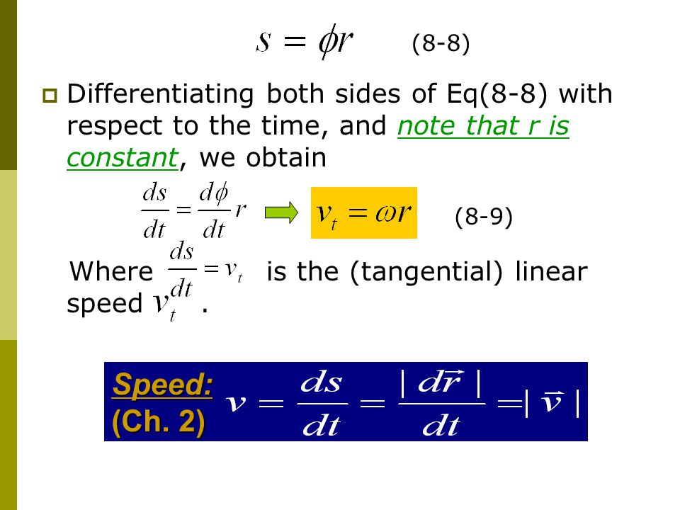  Differentiating both sides of Eq(8-8) with respect to the time, and note that r is constant, we obtain Where is the (tangential) linear speed.Speed: (Ch.