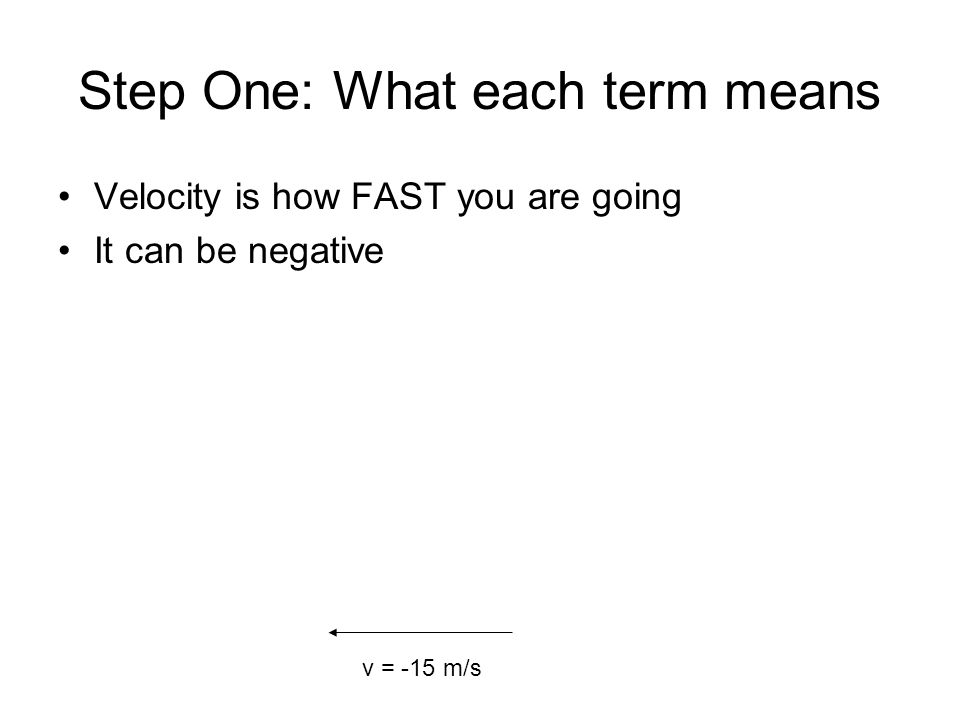 Step One: What each term means Velocity is how FAST you are going It can be negative v = -15 m/s