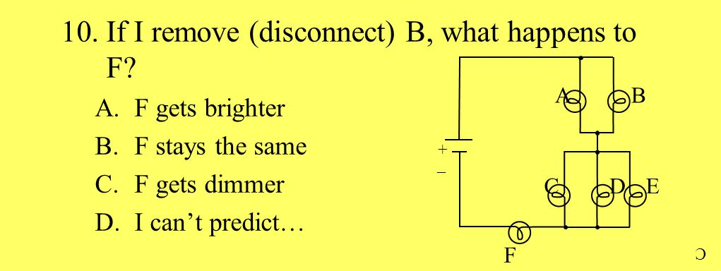 10.If I remove (disconnect) B, what happens to F? A.F gets brighter B.F stays the same C.F gets dimmer D.I can't predict… AB + _ CDE F C