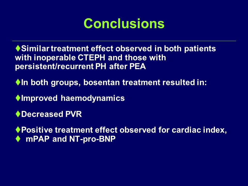 Conclusions  Similar treatment effect observed in both patients with inoperable CTEPH and those with persistent/recurrent PH after PEA  In both groups, bosentan treatment resulted in:  Improved haemodynamics  Decreased PVR  Positive treatment effect observed for cardiac index,  mPAP and NT-pro-BNP