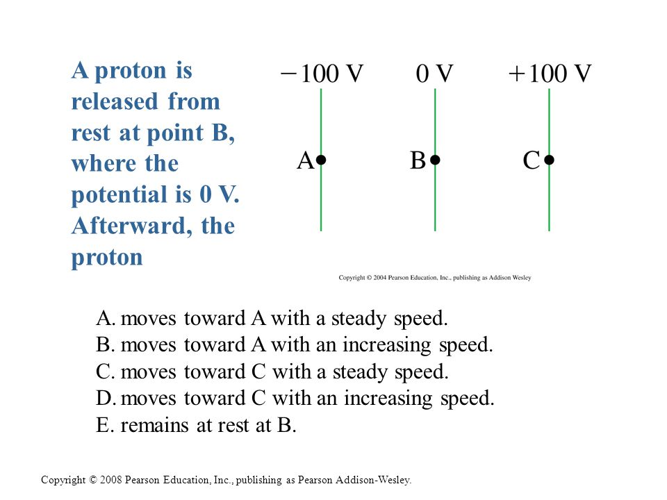 Copyright © 2008 Pearson Education, Inc., publishing as Pearson Addison-Wesley. A proton is released from rest at point B, where the potential is 0 V.